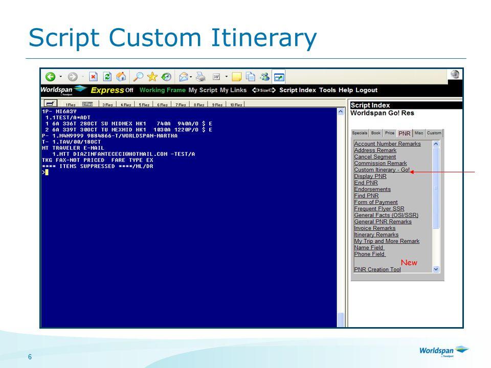 Script Custom Itinerary