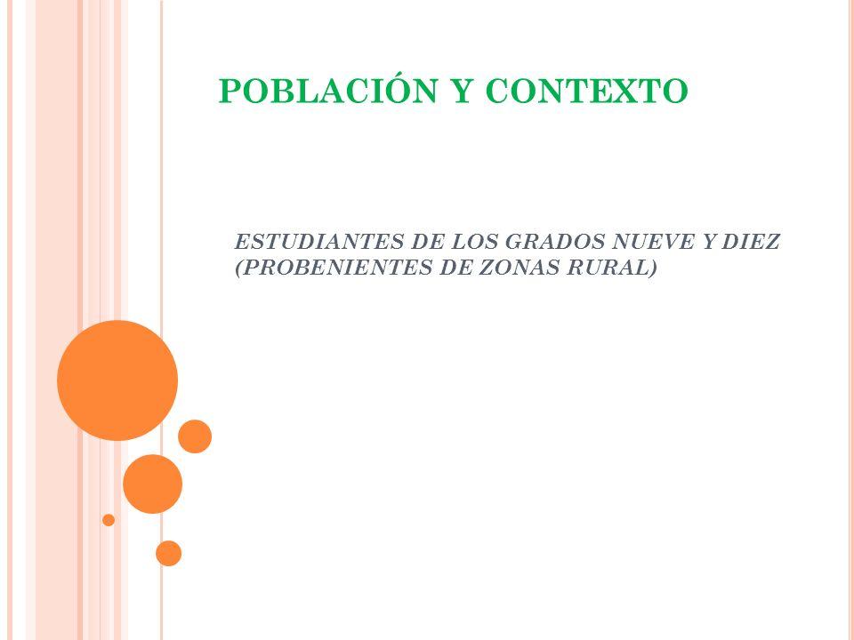 ESTUDIANTES DE LOS GRADOS NUEVE Y DIEZ (PROBENIENTES DE ZONAS RURAL)