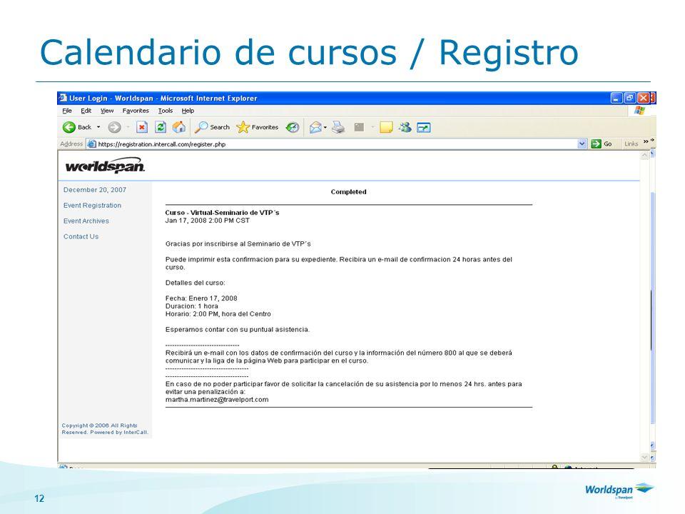 Calendario de cursos / Registro