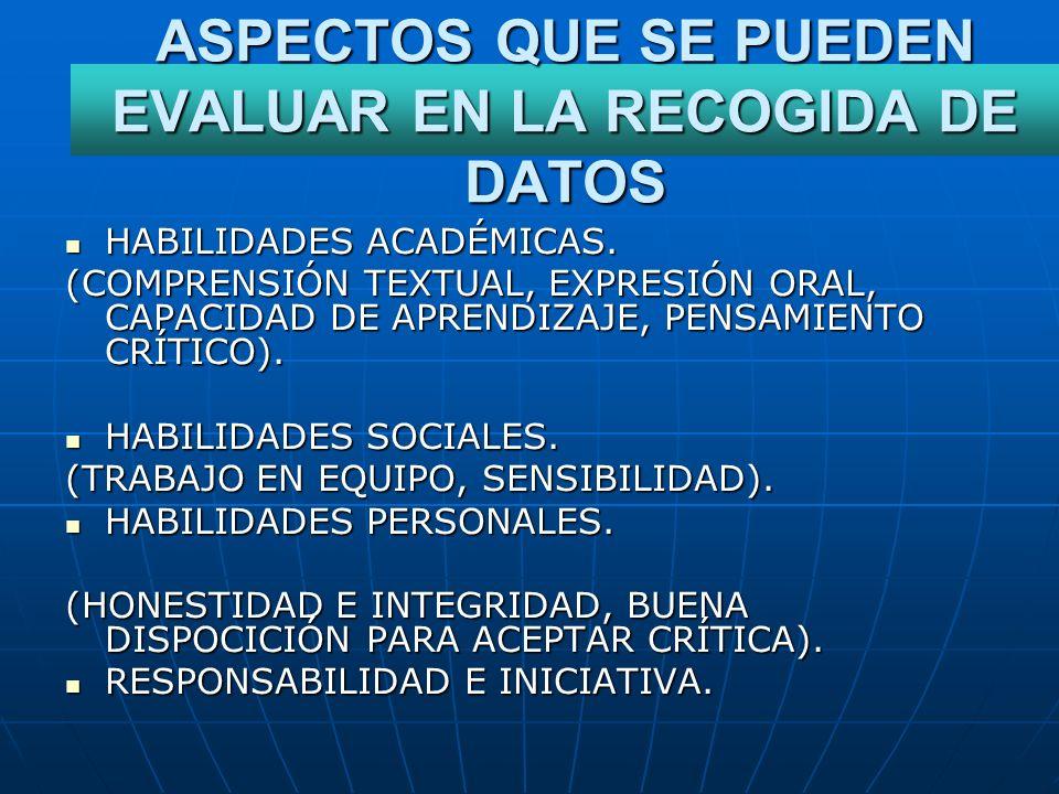 ASPECTOS QUE SE PUEDEN EVALUAR EN LA RECOGIDA DE DATOS