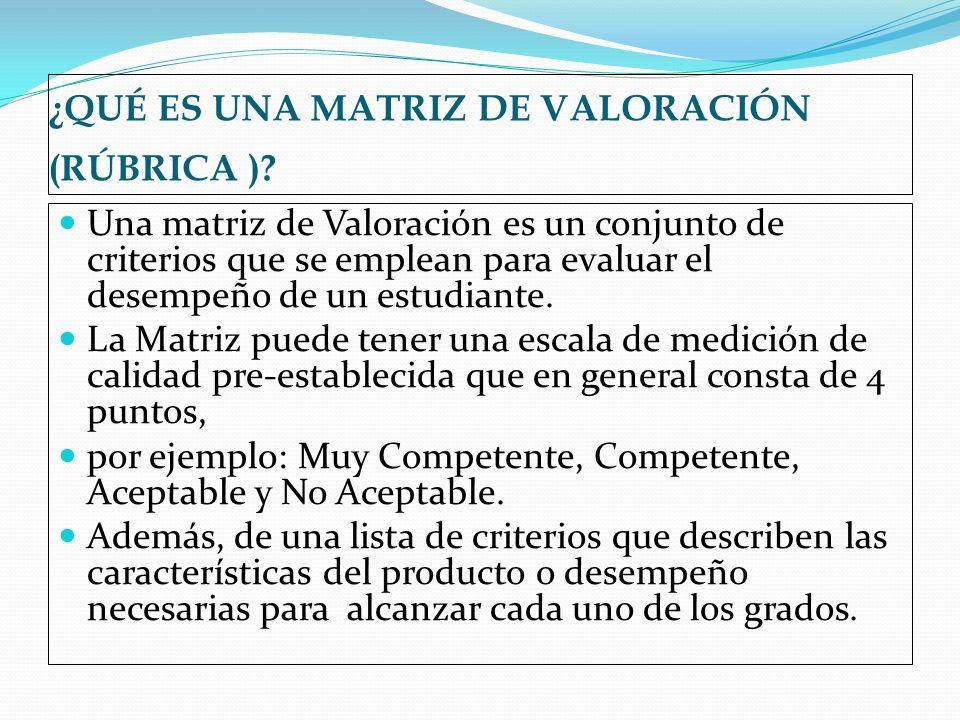¿QUÉ ES UNA MATRIZ DE VALORACIÓN (RÚBRICA )