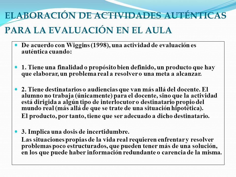 ELABORACIÓN DE ACTIVIDADES AUTÉNTICAS PARA LA EVALUACIÓN EN EL AULA