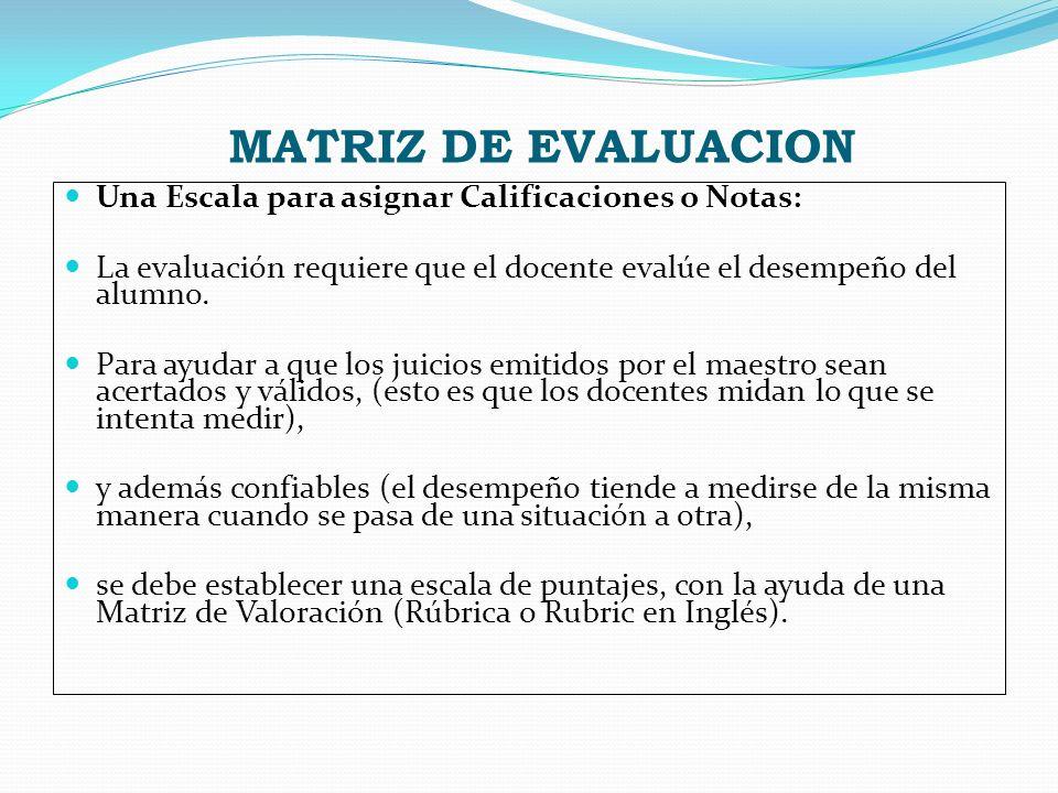 MATRIZ DE EVALUACION Una Escala para asignar Calificaciones o Notas: