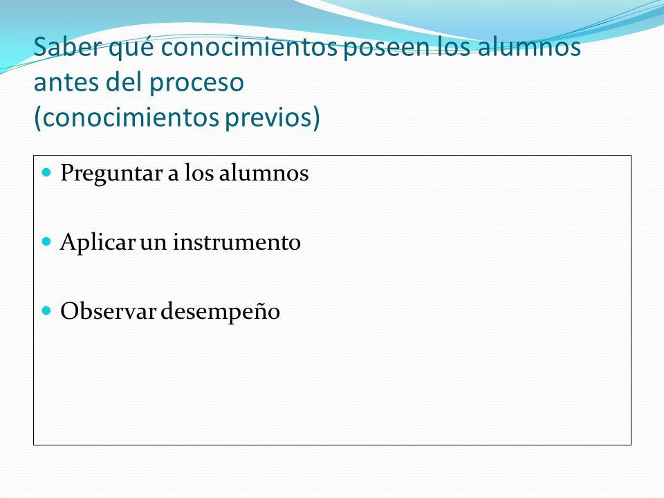 Saber qué conocimientos poseen los alumnos antes del proceso (conocimientos previos)