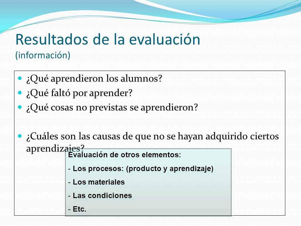 Resultados de la evaluación (información)