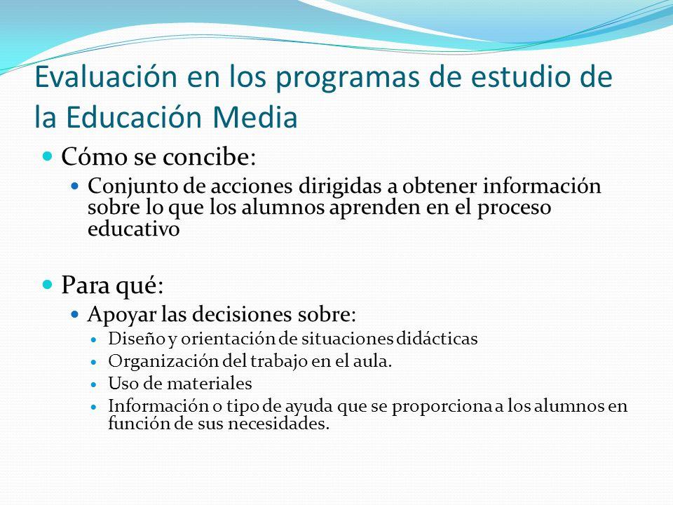 Evaluación en los programas de estudio de la Educación Media