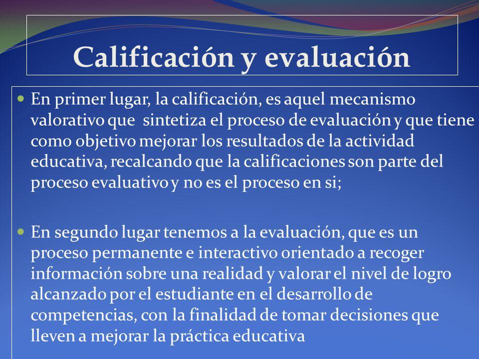 Calificación y evaluación