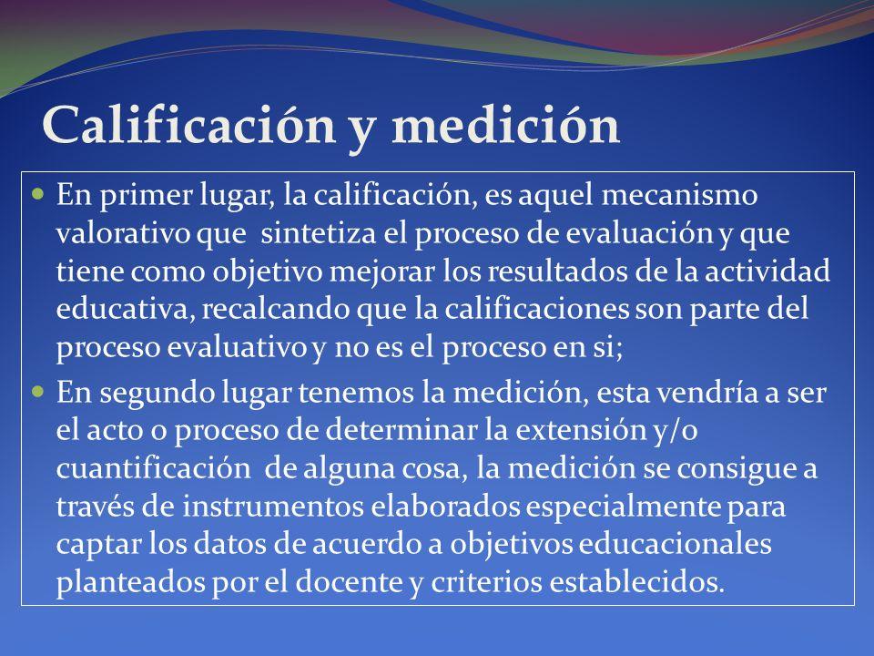 Calificación y medición