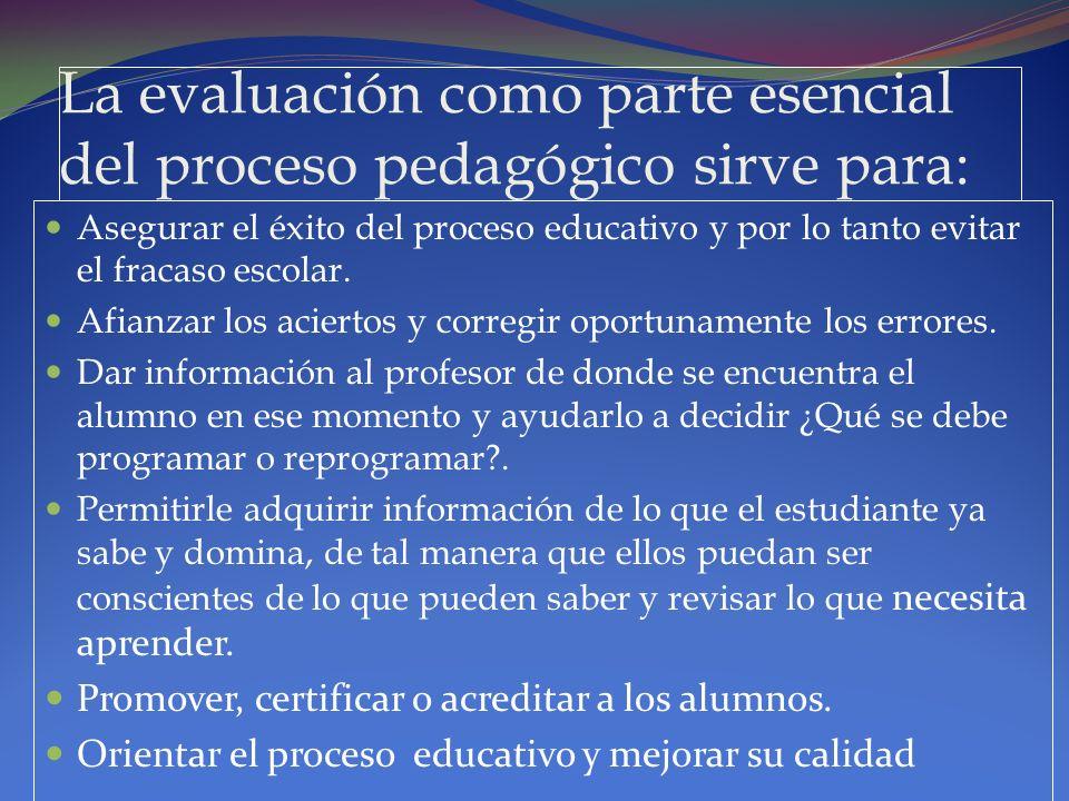La evaluación como parte esencial del proceso pedagógico sirve para: