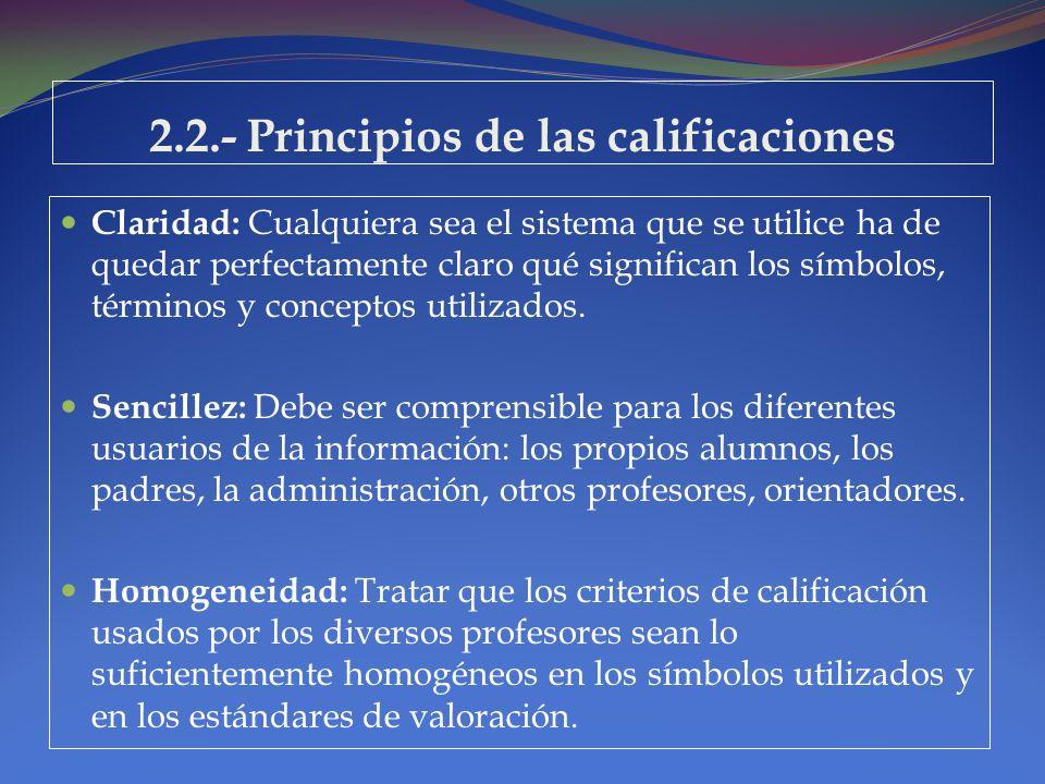 2.2.- Principios de las calificaciones