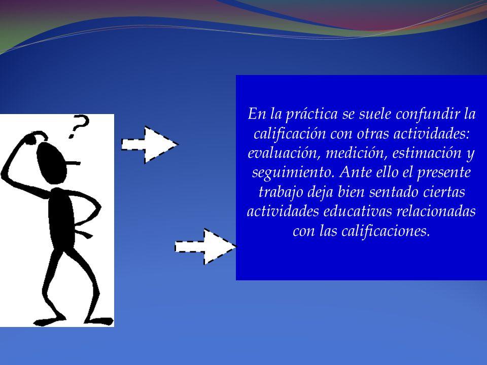 En la práctica se suele confundir la calificación con otras actividades: evaluación, medición, estimación y seguimiento.