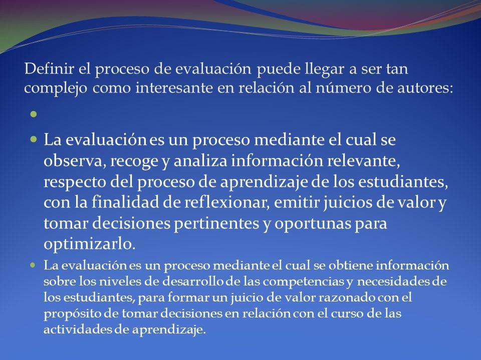 Definir el proceso de evaluación puede llegar a ser tan complejo como interesante en relación al número de autores: