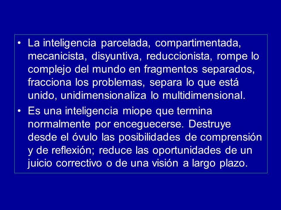 La inteligencia parcelada, compartimentada, mecanicista, disyuntiva, reduccionista, rompe lo complejo del mundo en fragmentos separados, fracciona los problemas, separa lo que está unido, unidimensionaliza lo multidimensional.