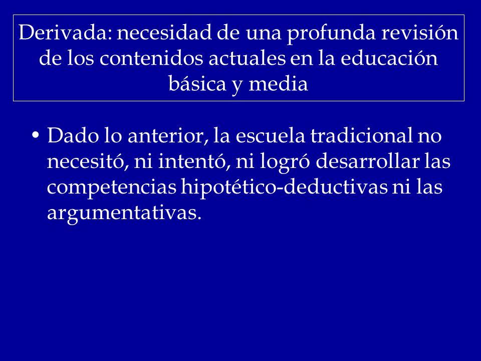 Derivada: necesidad de una profunda revisión de los contenidos actuales en la educación básica y media