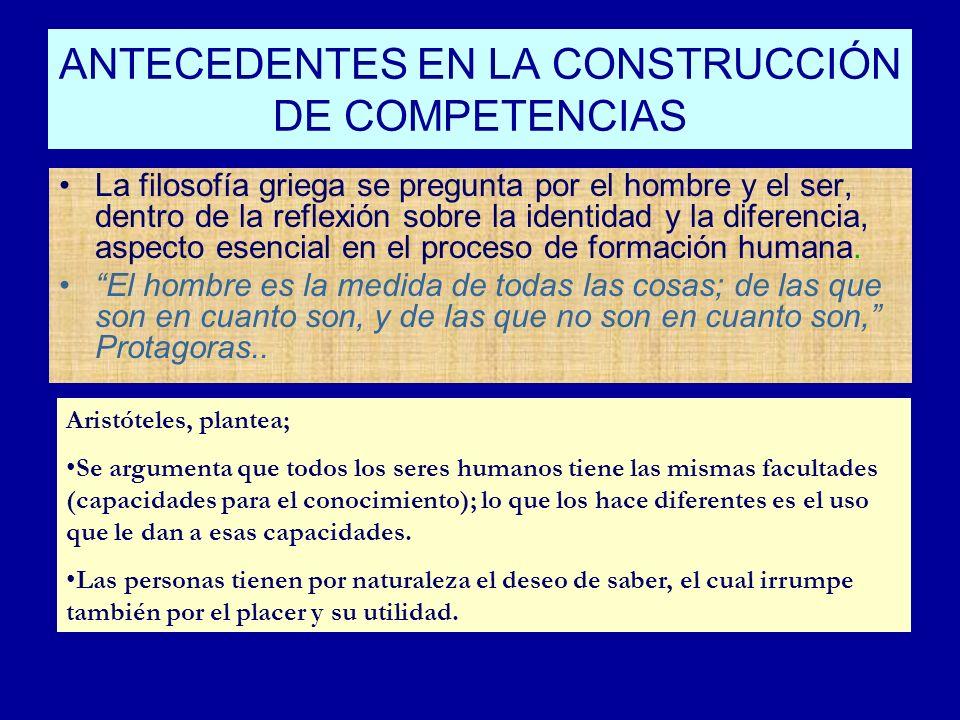 ANTECEDENTES EN LA CONSTRUCCIÓN DE COMPETENCIAS