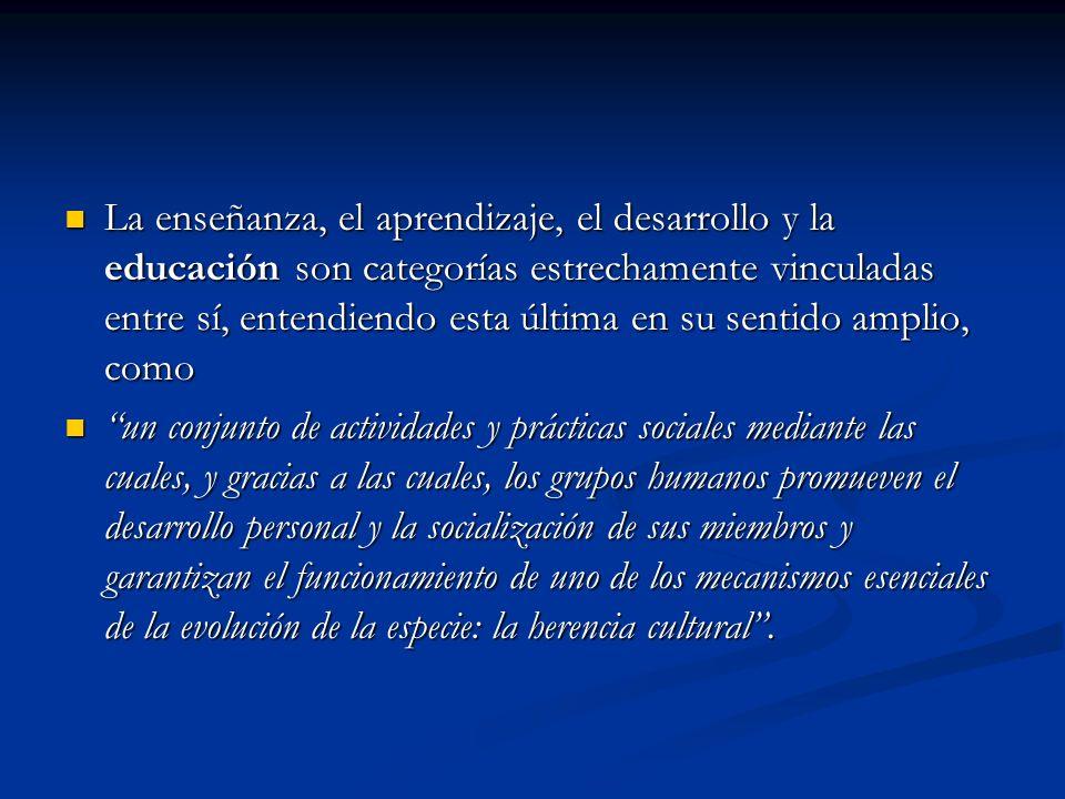 La enseñanza, el aprendizaje, el desarrollo y la educación son categorías estrechamente vinculadas entre sí, entendiendo esta última en su sentido amplio, como