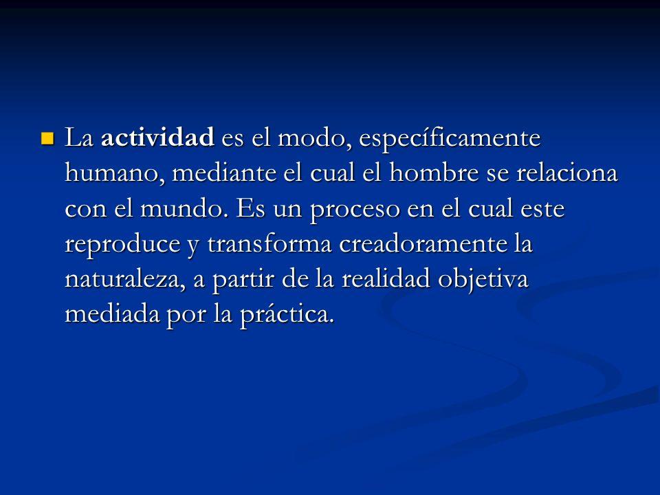 La actividad es el modo, específicamente humano, mediante el cual el hombre se relaciona con el mundo.