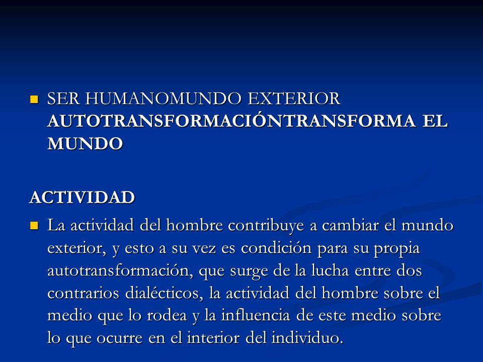 SER HUMANOMUNDO EXTERIOR AUTOTRANSFORMACIÓNTRANSFORMA EL MUNDO