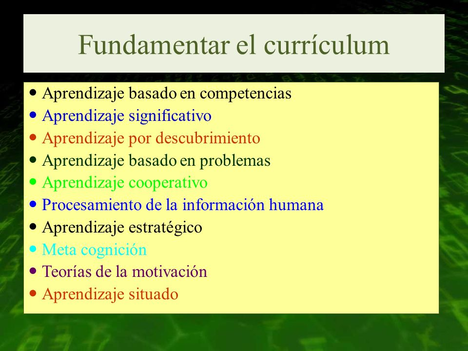Fundamentar el currículum
