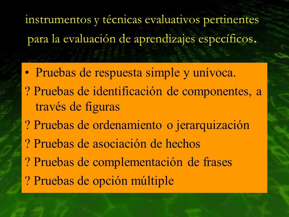instrumentos y técnicas evaluativos pertinentes para la evaluación de aprendizajes específicos.