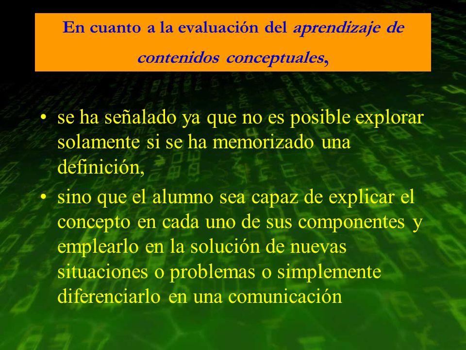 En cuanto a la evaluación del aprendizaje de contenidos conceptuales,