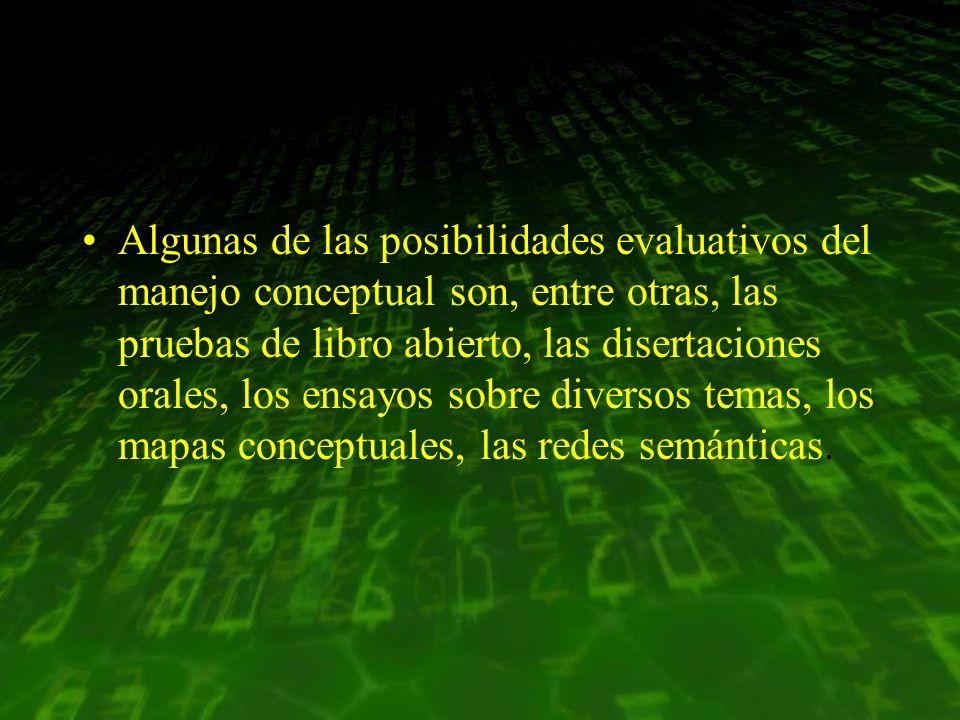 Algunas de las posibilidades evaluativos del manejo conceptual son, entre otras, las pruebas de libro abierto, las disertaciones orales, los ensayos sobre diversos temas, los mapas conceptuales, las redes semánticas.