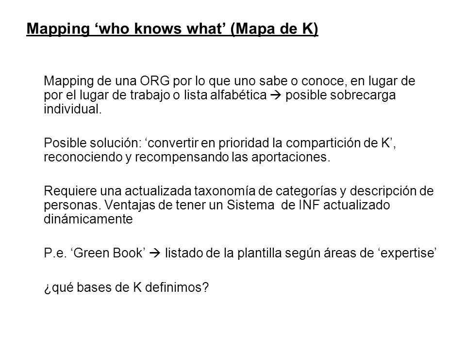 Mapping 'who knows what' (Mapa de K)