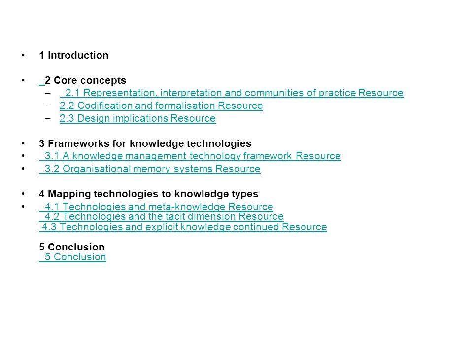 1 Introduction2 Core concepts. 2.1 Representation, interpretation and communities of practice Resource.