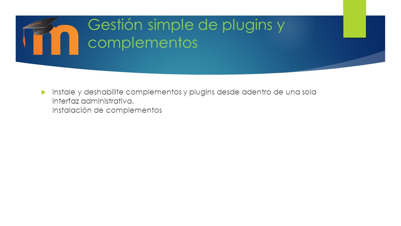 Gestión simple de plugins y complementos