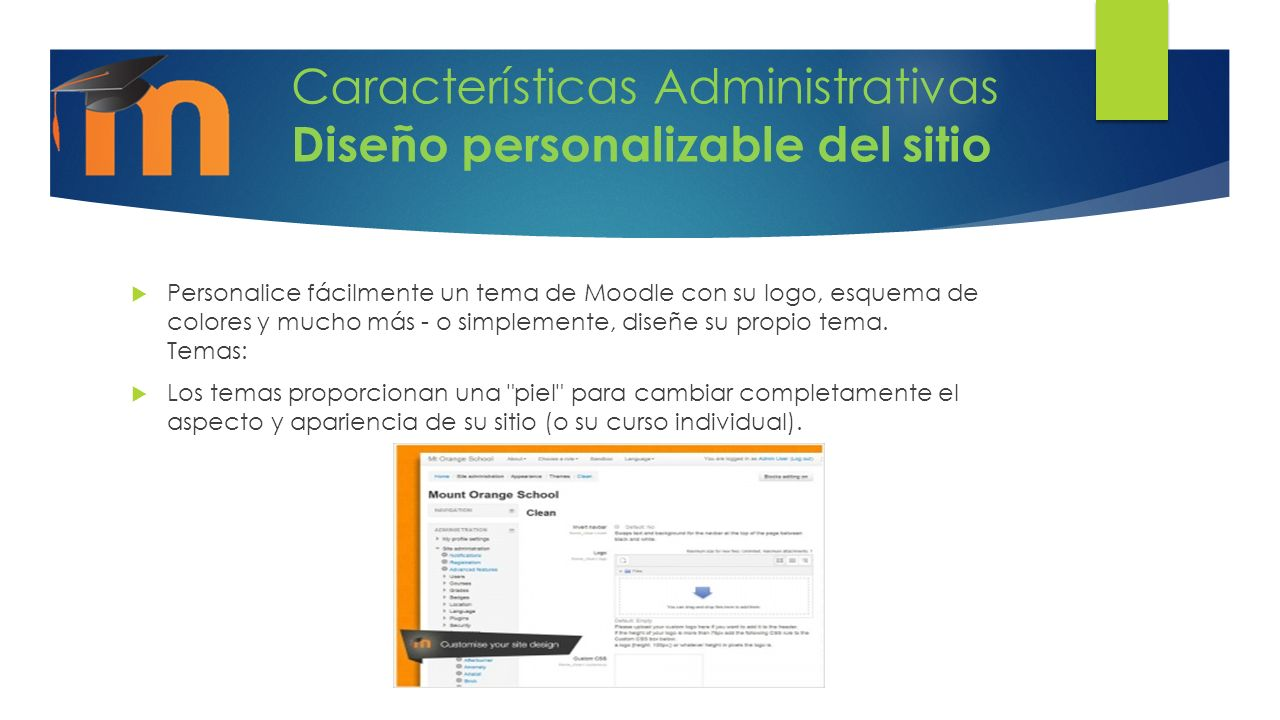 Características Administrativas Diseño personalizable del sitio