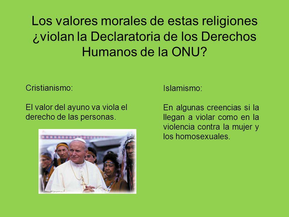 Los valores morales de estas religiones ¿violan la Declaratoria de los Derechos Humanos de la ONU