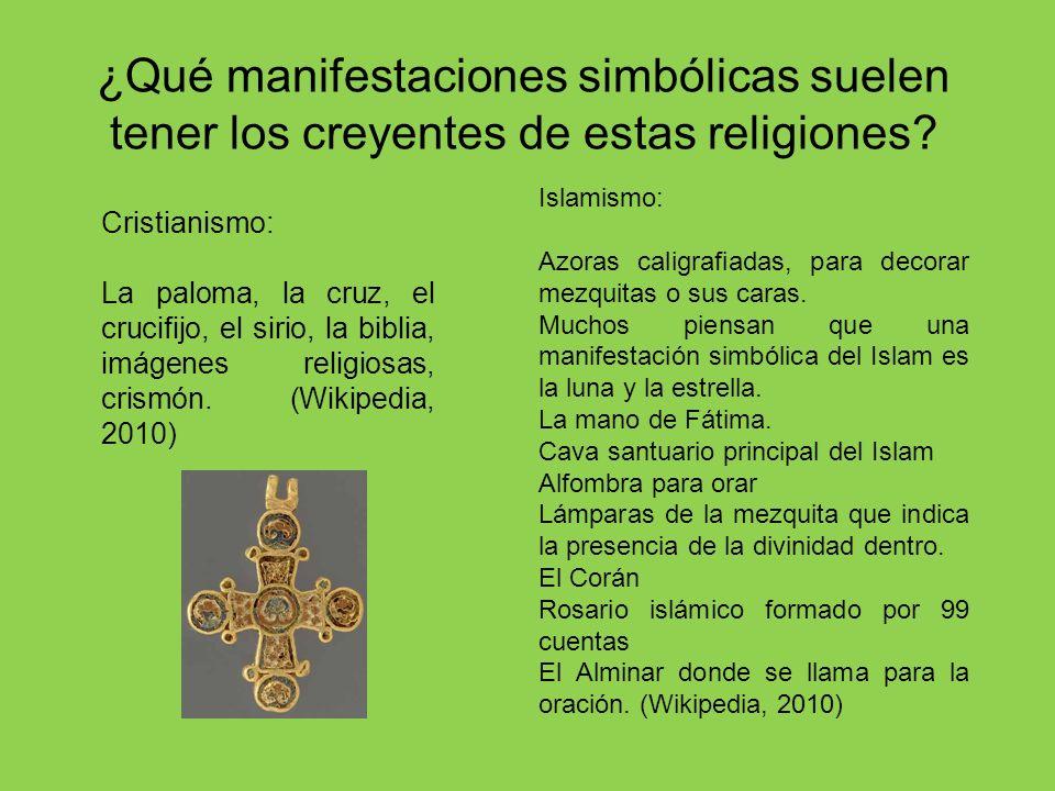 ¿Qué manifestaciones simbólicas suelen tener los creyentes de estas religiones