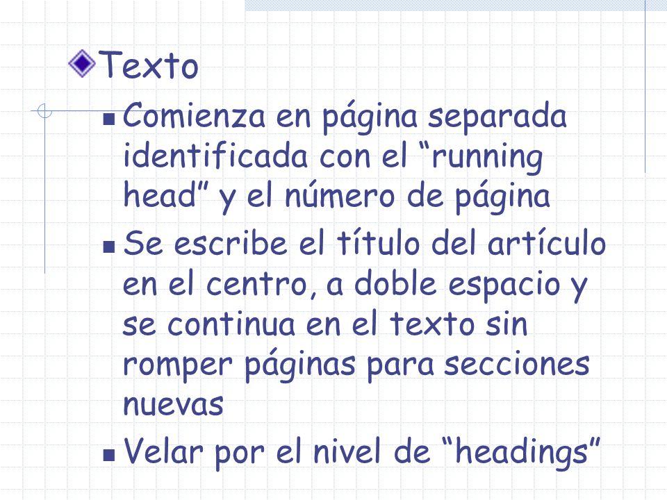 Texto Comienza en página separada identificada con el running head y el número de página.