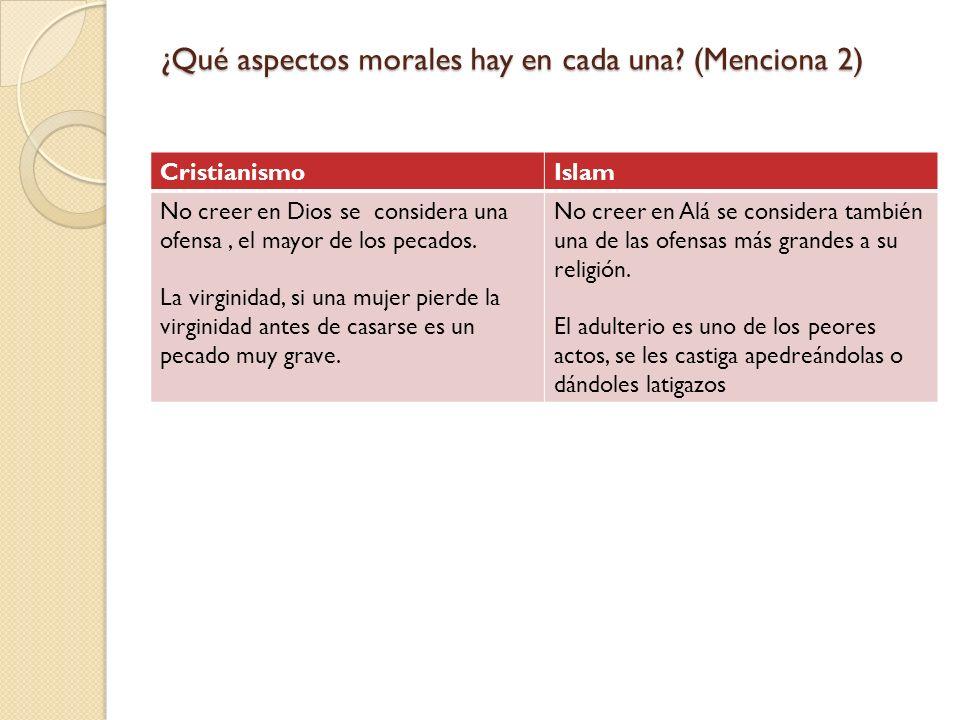 ¿Qué aspectos morales hay en cada una (Menciona 2)