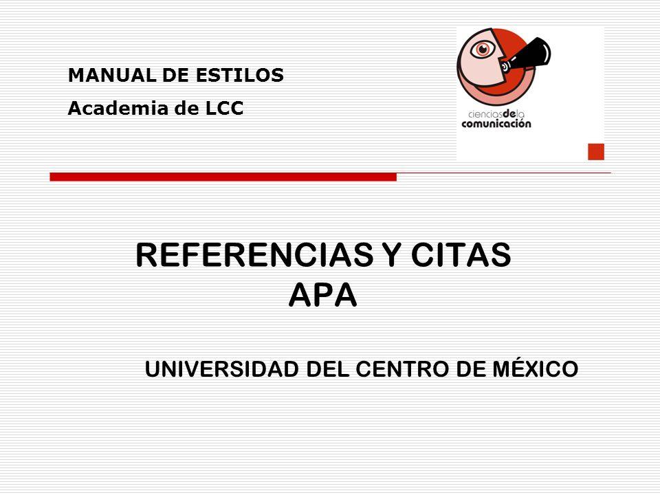 REFERENCIAS Y CITAS APA
