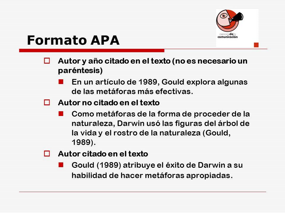 Formato APA Autor y año citado en el texto (no es necesario un paréntesis)