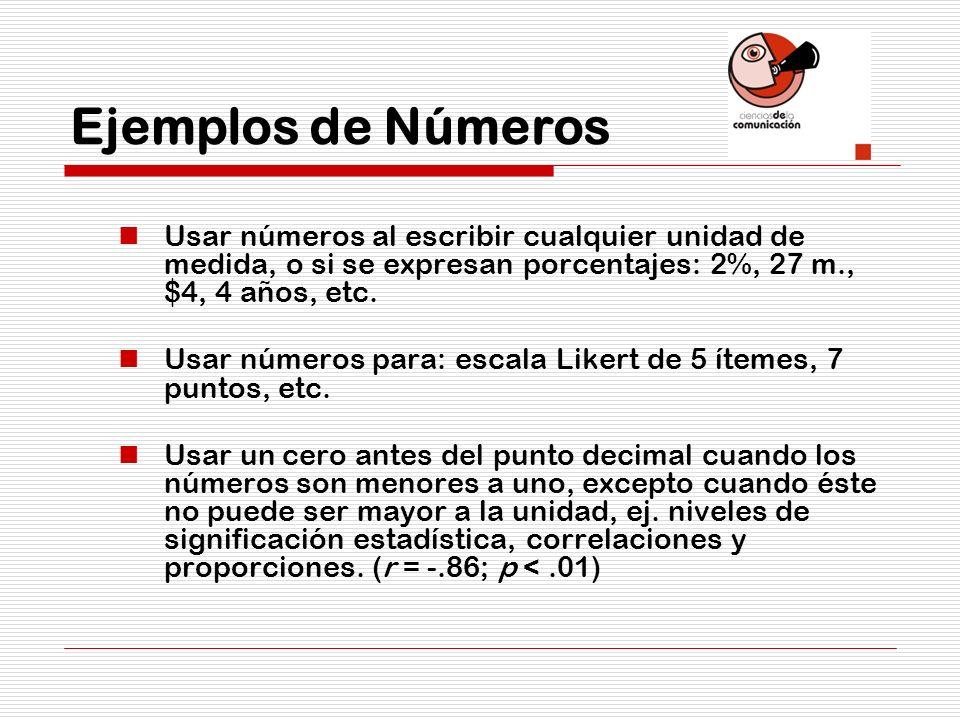 Ejemplos de Números Usar números al escribir cualquier unidad de medida, o si se expresan porcentajes: 2%, 27 m., $4, 4 años, etc.