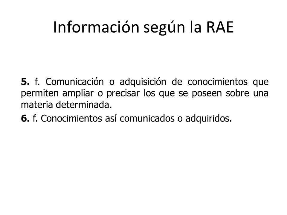Información según la RAE