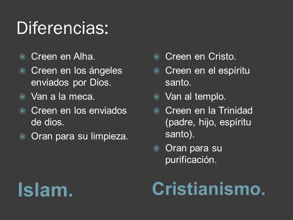 Islam. Diferencias: Cristianismo. Creen en Alha.
