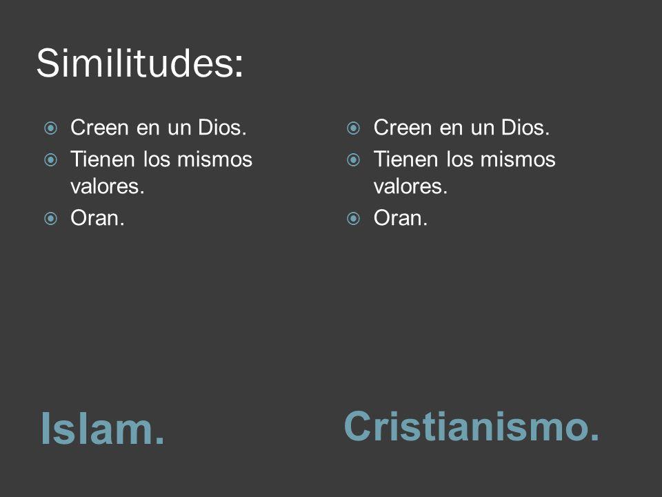 Islam. Similitudes: Cristianismo. Creen en un Dios.