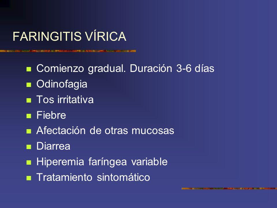 FARINGITIS VÍRICA Comienzo gradual. Duración 3-6 días Odinofagia