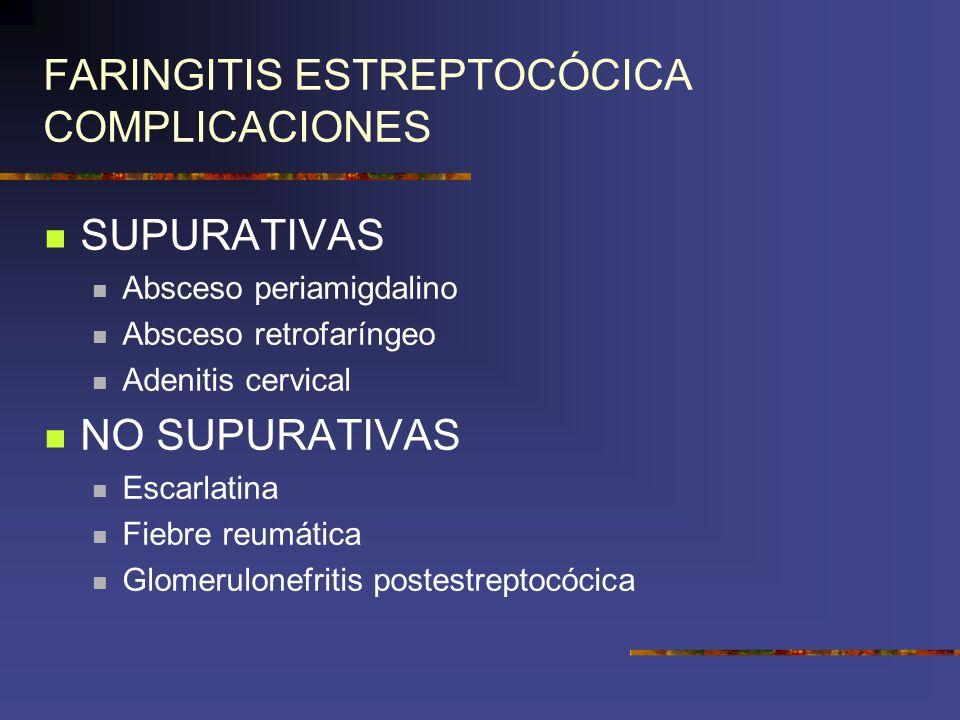 FARINGITIS ESTREPTOCÓCICA COMPLICACIONES
