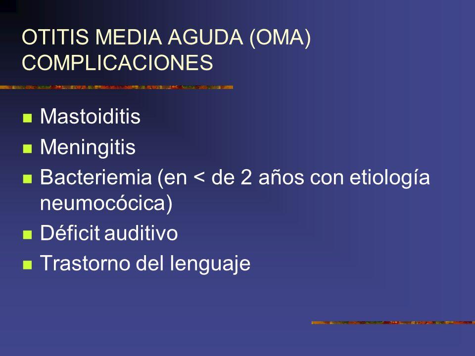 OTITIS MEDIA AGUDA (OMA) COMPLICACIONES
