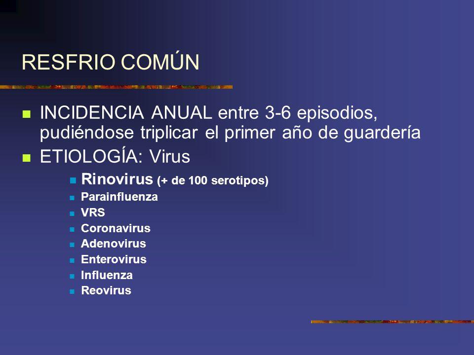 RESFRIO COMÚN INCIDENCIA ANUAL entre 3-6 episodios, pudiéndose triplicar el primer año de guardería.