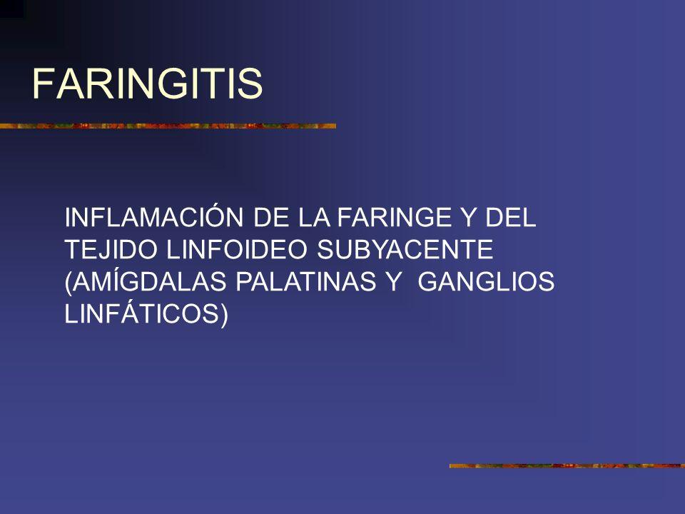 FARINGITIS INFLAMACIÓN DE LA FARINGE Y DEL TEJIDO LINFOIDEO SUBYACENTE (AMÍGDALAS PALATINAS Y GANGLIOS LINFÁTICOS)