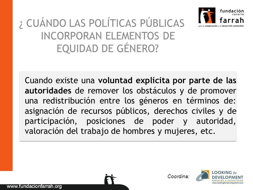 ¿ CUÁNDO LAS POLÍTICAS PÚBLICAS INCORPORAN ELEMENTOS DE EQUIDAD DE GÉNERO