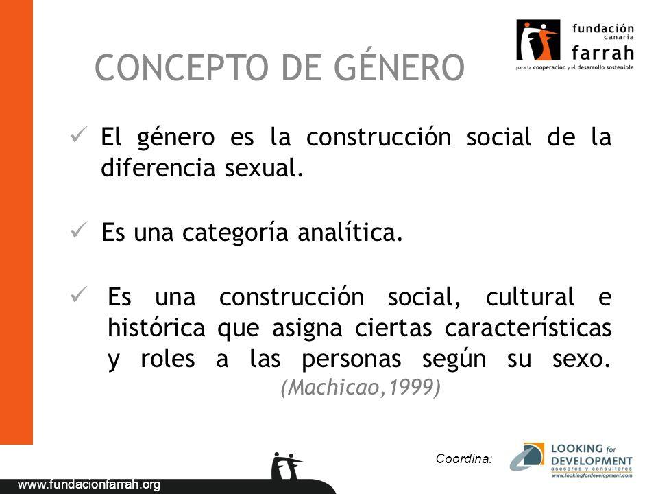 CONCEPTO DE GÉNERO El género es la construcción social de la diferencia sexual. Es una categoría analítica.