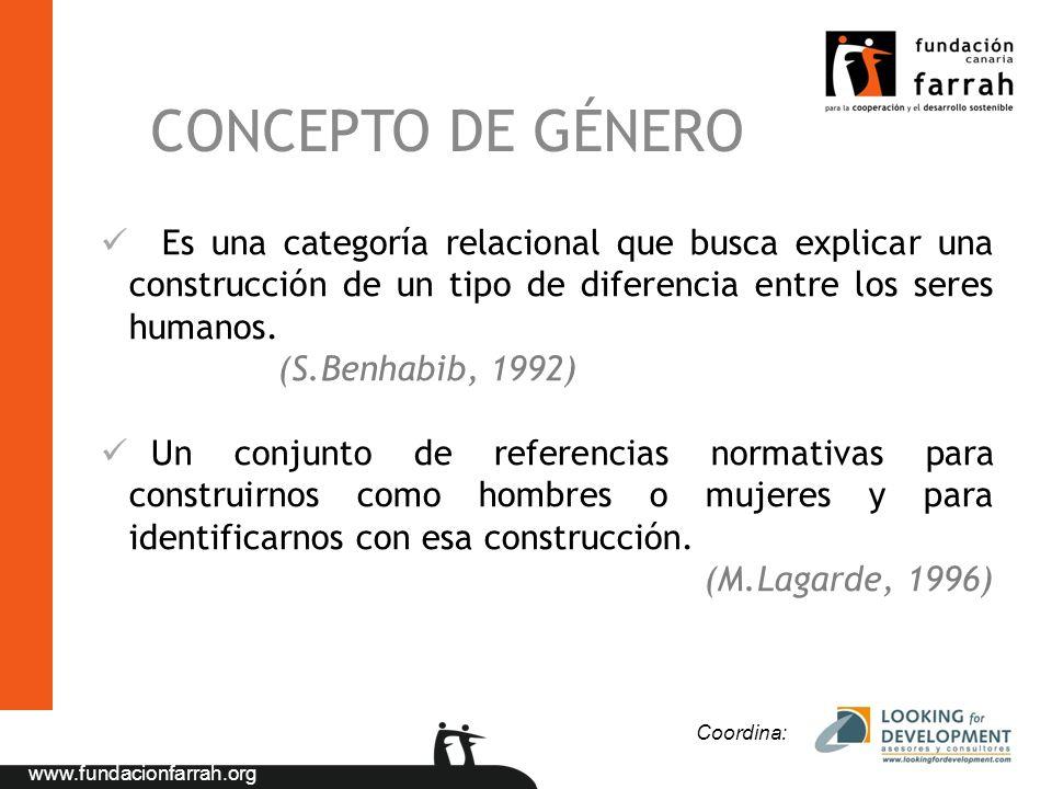 CONCEPTO DE GÉNERO Es una categoría relacional que busca explicar una construcción de un tipo de diferencia entre los seres humanos.