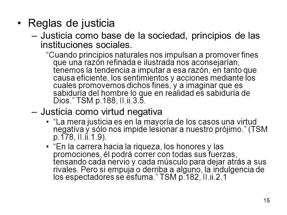 Reglas de justicia Justicia como base de la sociedad, principios de las instituciones sociales.