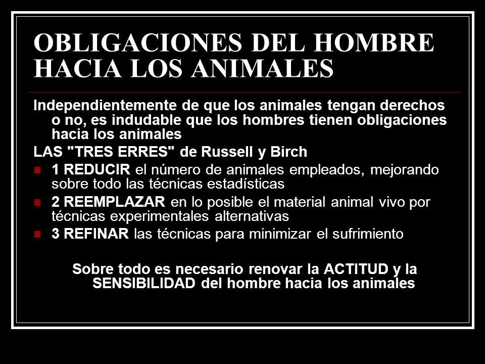 OBLIGACIONES DEL HOMBRE HACIA LOS ANIMALES